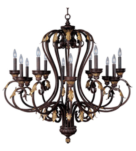 Maxim Monaco 12 Light Multi-Tier Chandelier in Windsor Bronze 2897WB photo