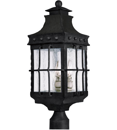 Maxim Lighting Nantucket 3 Light Outdoor Pole/Post Lantern in Country Forge 30080CDCF photo