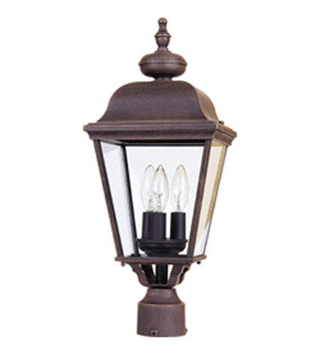 Maxim Lighting Builder Cast 3 Light Outdoor Pole/Post Lantern in Rust Patina 3008RP photo