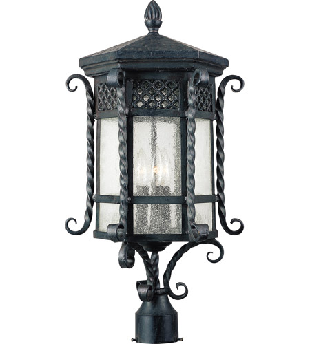 Scottsdale 3 Light 26 Inch Country Forge Outdoor Pole Post Lantern