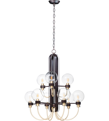Bauhaus 9 Light 28 Inch Bronze And Satin Br Multi Tier Chandelier Ceiling