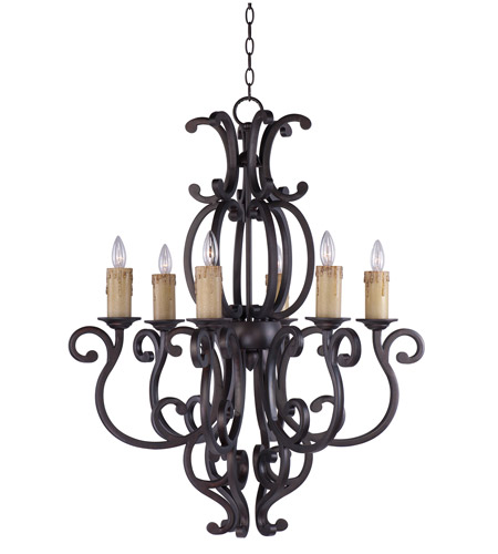 Maxim 31005CU Richmond 6 Light 31 inch Colonial Umber Single Tier Chandelier Ceiling Light in Without Crystals, Without Shade photo