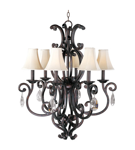 Maxim Lighting Richmond 6 Light Single Tier Chandelier in Colonial Umber 31005CU/CRY083/SHD62