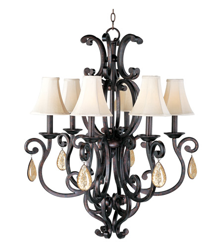 Maxim 31005CU/CRY094/SHD62 Richmond 6 Light 31 inch Colonial Umber Single Tier Chandelier Ceiling Light in With Crystals (094), With Shade (62) photo