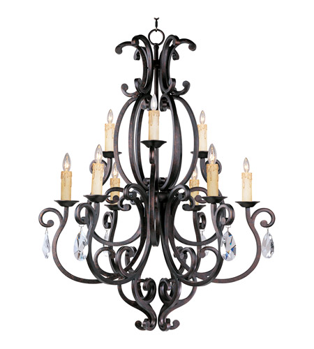 Maxim 31006CU/CRY083 Richmond 9 Light 38 inch Colonial Umber Multi-Tier Chandelier Ceiling Light in With Crystals (083), Without Shade  photo