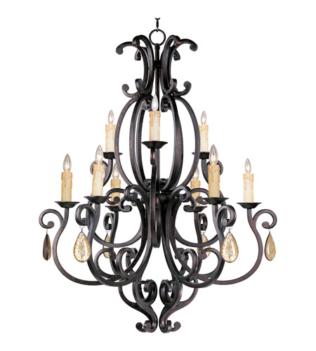 Maxim 31006CU/CRY094 Richmond 9 Light 38 inch Colonial Umber Multi-Tier Chandelier Ceiling Light in With Crystals (094), Without Shade photo