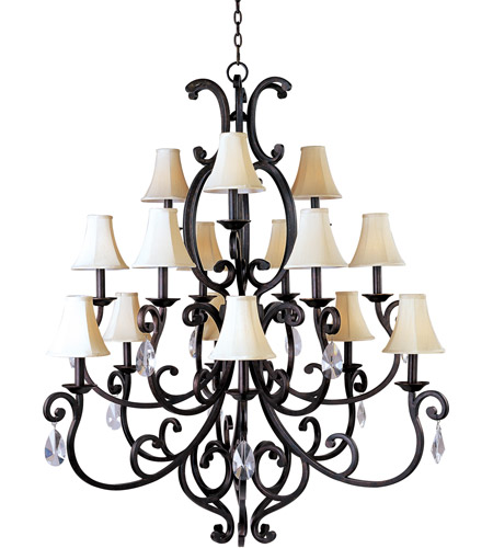 Maxim 31007CU/CRY085/SHD62 Richmond 15 Light 51 inch Colonial Umber Multi-Tier Chandelier Ceiling Light in With Crystals (085), With Shade (62) photo