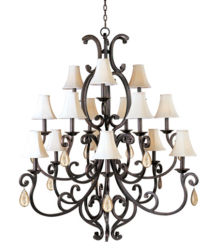 Maxim Lighting Richmond 15 Light Multi-Tier Chandelier in Colonial Umber 31007CU/CRY095/SHD62 photo