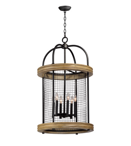Maxim 32387DWBK Lancaster 6 Light 21 Inch Driftwood And Black Multi Pendant Ceiling