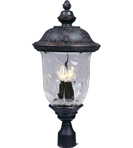 Maxim 3420WGOB Carriage House DC 3 Light 27 inch Oriental Bronze Outdoor Pole/Post Lantern photo