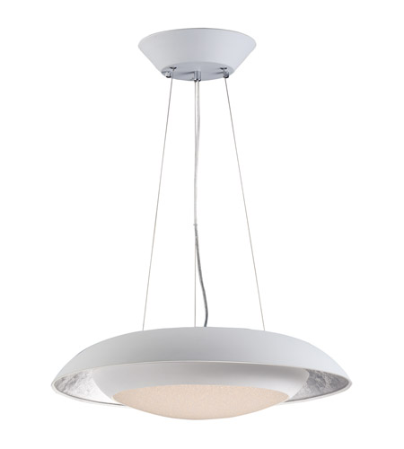 Maxim 35075CYSLWT Iris LED 24 Inch Silver Leaf And White Single Pendant  Ceiling Light
