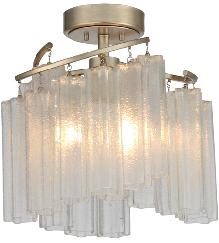 Maxim 39570WFLGS Victoria 3 Light 17 inch Golden Silver Semi-Flush Mount Ceiling Light photo