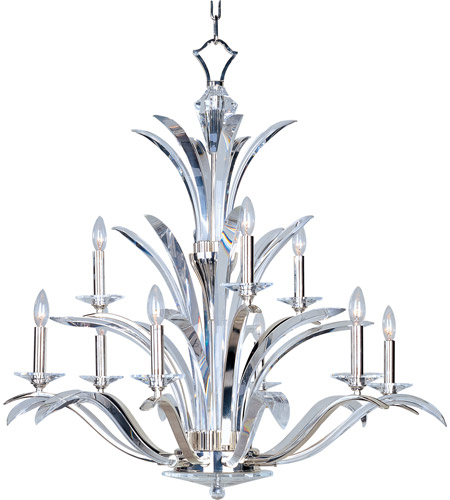 Maxim 39946BCPS Paradise 9 Light 38 inch Plated Silver Multi-Tier Chandelier Ceiling Light photo