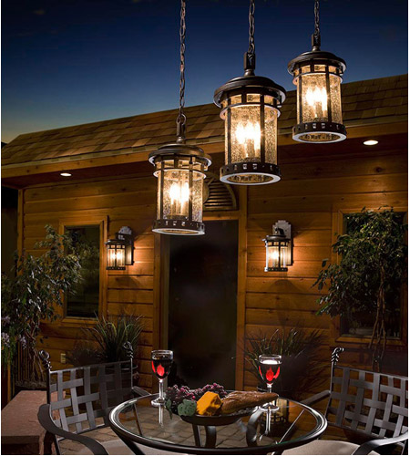 Maxim 40039CDSE Santa Barbara VX 3 Light 11 inch Sienna Outdoor Hanging Lantern photo