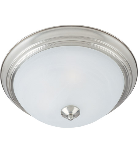 eb62b1758ff1c Maxim 5842MRSN Signature 3 Light 16 inch Satin Nickel Flush Mount Ceiling  Light in Marble photo
