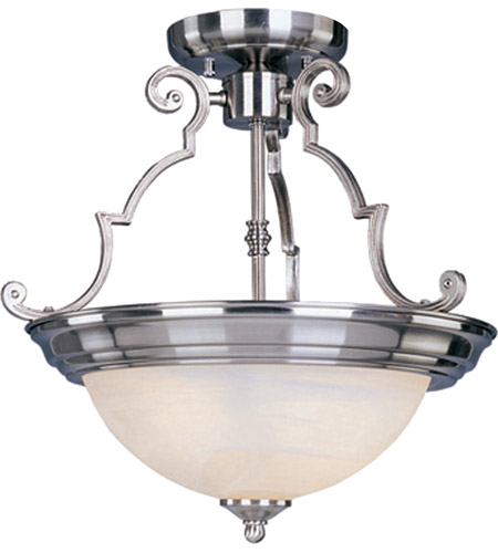 Maxim 5844MRSN Signature 3 Light 17 inch Satin Nickel Semi Flush Mount Ceiling Light photo