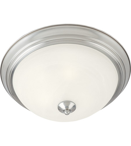 Maxim 5849MRSN Signature 2 Light 12 inch Satin Nickel Flush Mount Ceiling Light in Marble photo