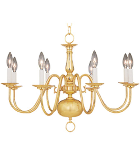 Maxim Lighting Builder Basics 8 Light Single-Tier Chandelier in Polished Brass 7101PB photo