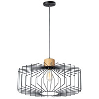 Maxim 10069BKNWD Bjorn 1 Light 23 inch Black and Natural Wood Single Pendant Ceiling Light