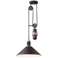 Tucson 1 Light 16 inch Oil Rubbed Bronze and Weathered Wood Single Pendant Ceiling Light