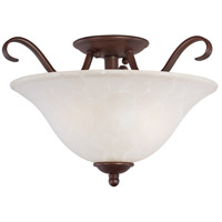 Basix 2 Light 14 inch Oil Rubbed Bronze Semi Flush Mount Ceiling Light in Ice