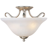 Basix 2 Light 14 inch Satin Nickel Semi Flush Mount Ceiling Light in Ice