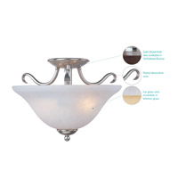 Maxim 10120ICSN Basix 2 Light 14 inch Satin Nickel Semi Flush Mount Ceiling Light in Ice alternative photo thumbnail