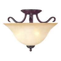 Basix 2 Light 14 inch Oil Rubbed Bronze Semi Flush Mount Ceiling Light in Wilshire