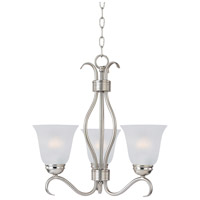 Maxim 10123FTSN Basix 3 Light 16 inch Satin Nickel Mini Chandelier Ceiling Light in Frosted