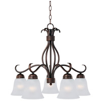 Maxim 10124FTOI Basix 5 Light 25 inch Oil Rubbed Bronze Down Light Chandelier Ceiling Light in Frosted