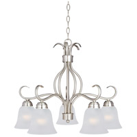 Maxim 10124FTSN Basix 5 Light 25 inch Satin Nickel Down Light Chandelier Ceiling Light in Frosted