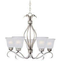 Maxim 10125FTSN Basix 5 Light 26 inch Satin Nickel Single-Tier Chandelier Ceiling Light in Frosted