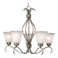 Basix 5 Light 26 inch Satin Nickel Single Tier Chandelier Ceiling Light in Ice