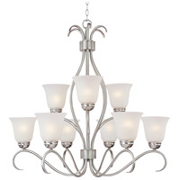 Maxim Lighting Basix 9 Light Multi-Tier Chandelier in Satin Nickel 10128ICSN