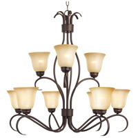 Basix 9 Light 32 inch Oil Rubbed Bronze Multi-Tier Chandelier Ceiling Light in Wilshire