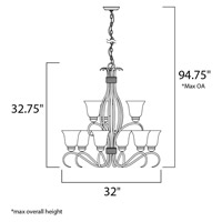 Maxim 10128ICSN Basix 9 Light 32 inch Satin Nickel Multi-Tier Chandelier Ceiling Light in Ice alternative photo thumbnail