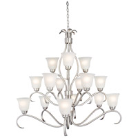 Basix 15 Light 42 inch Satin Nickel Multi-Tier Chandelier Ceiling Light