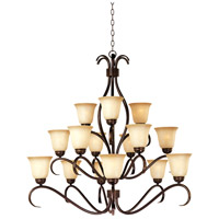 Basix 15 Light 42 inch Oil Rubbed Bronze Multi-Tier Chandelier Ceiling Light