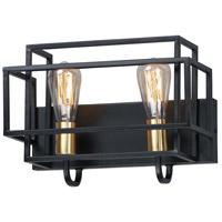 Maxim 10242BKSBR Liner 2 Light 14 inch Black and Satin Brass Bath Vanity Wall Light