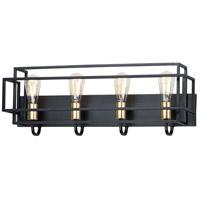 Maxim 10244BKSBR Liner 4 Light 29 inch Black and Satin Brass Bath Vanity Wall Light