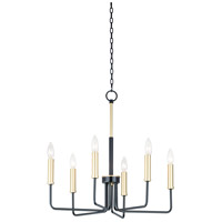 Maxim 10255BKGLD Sullivan 6 Light 23 inch Black and Gold Chandelier Ceiling Light