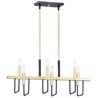 Maxim 10259BKGLD Sullivan 6 Light 30 inch Black and Gold Linear Pendant Ceiling Light