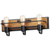 Maxim 10303BKASB Black Forest 3 Light 21 inch Black and Ashbury Bath Vanity Wall Light
