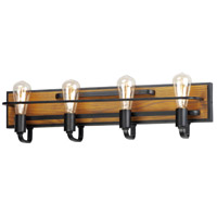 Maxim 10304BKASB Black Forest 4 Light 29 inch Black and Ashbury Bath Vanity Wall Light