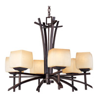 Asiana 6 Light 27 inch Roasted Chestnut Single Tier Chandelier Ceiling Light