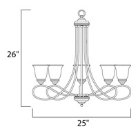 Maxim 11044MRSN Nova 5 Light 25 inch Satin Nickel Single Tier Chandelier Ceiling Light alternative photo thumbnail