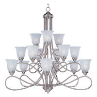 Maxim 11045MRSN Nova 15 Light 42 inch Satin Nickel Multi-Tier Chandelier Ceiling Light in Marble