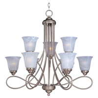 Nova 9 Light 31 inch Satin Nickel Multi-Tier Chandelier Ceiling Light