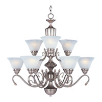 Maxim Newport 9 Light Multi-Tier Chandelier in Satin Nickel with Marble Glass 11065MRSN photo thumbnail