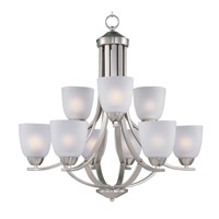 Maxim 11226FTSN Axis 9 Light 28 inch Satin Nickel Multi-Tier Chandelier Ceiling Light